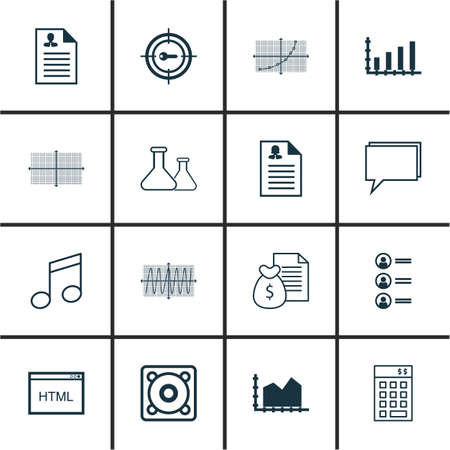 crotchets: Set Of 16 Universal Editable Icons. Can Be Used For Web, Mobile And App Design. Includes Icons Such As Crotchets, Cosinus Diagram, Chemical And More. Illustration
