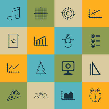 Set Of 16 Universal Editable Icons. Can Be Used For Web, Mobile And App Design. Includes Icons Such As Decorated Tree, Currency Recycle, Job Applicants And More.