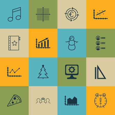 Ensemble de 16 icônes modifiables universelles. Peut être utilisé pour la conception Web, Mobile et App. Inclut des icônes telles que l'arbre décoré, le recyclage de devise, les demandeurs d'emploi et plus.