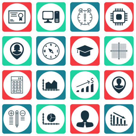 financial position: Set Of 16 Universal Editable Icons. Can Be Used For Web, Mobile And App Design. Includes Icons Such As Successful Investment, Employee Location, Chip And More.