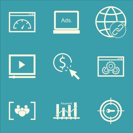 keywords advertise: Set Of SEO Icons On Connectivity, Keyword Optimisation And Keyword Marketing Topics. Editable Vector Illustration. Includes Optimization, Website And Page Vector Icons. Illustration