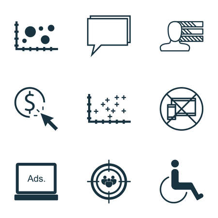 wheelchair users: Set Of 9 Universal Editable Icons. Can Be Used For Web, Mobile And App Design. Includes Icons Such As Plot Diagram, Conference, Comparison And More.