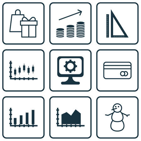 dynamic html: Set Of 9 Universal Editable Icons. Can Be Used For Web, Mobile And App Design. Includes Icons Such As Sequence Graphics, Measurement, Shopping And More. Illustration