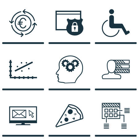 Set Of 9 Universal Editable Icons. Can Be Used For Web, Mobile And App Design. Includes Icons Such As Accessibility, Sliced Pizza, Analytics And More.