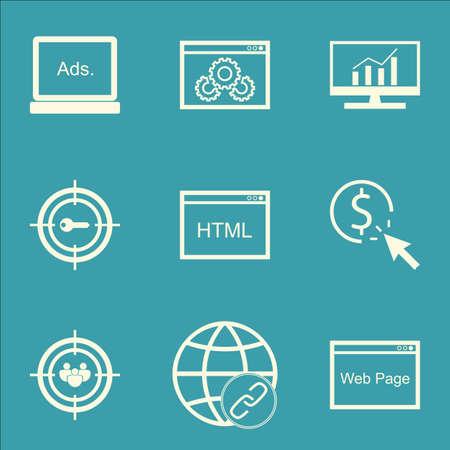 Ensemble d'icônes publicitaires sur les études de marché, marketing par mots clés et sujets liés aux performances du site Web. Illustration vectorielle modifiable Comprend des icônes vectorielles Click, Analytics et Bulding.