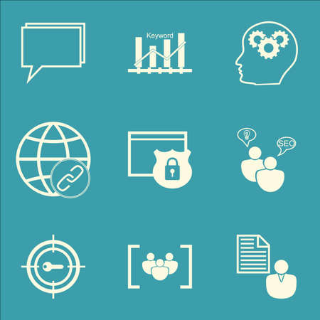 website security: Set Of Marketing Icons On Report, Conference And Keyword Marketing Topics. Editable Vector Illustration. Includes Website, Security And Research Vector Icons.