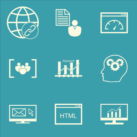 dynamic html: Set Of SEO Icons On Newsletter, Loading Speed And Connectivity Topics. Editable Vector Illustration. Includes Marketing, Speed And Matching Vector Icons.