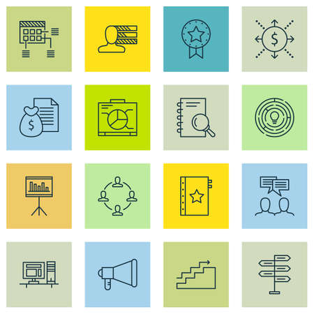 personality development: Set Of Project Management Icons On Schedule, Warranty And Computer Topics. Editable Vector Illustration. Includes Announcement, Plan And Decision Vector Icons.
