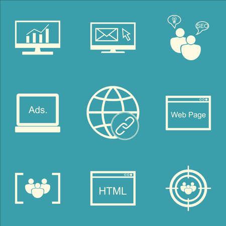 Set Of SEO Icons Le groupe de discussion, de connectivité et thèmes de recherche du marché. Editable Vector Illustration. Comprend Matching, conseil et navigateur icônes vectorielles.