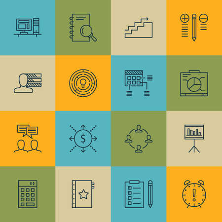 office work: Set Of Project Management Icons On Personal Skills, Schedule And Growth Topics. Editable Vector Illustration. Includes Statistic, Office And Brainstorm Vector Icons.