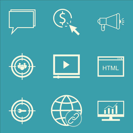 Set Of Advertising Icons On Conference, Coding And Market Research Topics. Editable Vector Illustration. Includes Marketing, Community And HTML Vector Icons.
