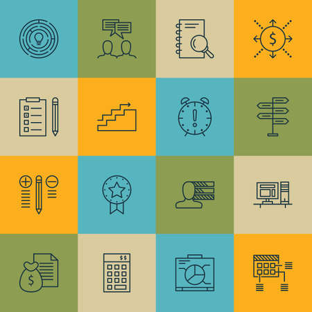 engineering icon: Set Of Project Management Icons On Investment, Computer And Analysis Topics. Editable Vector Illustration. Includes Personal, Time And Cash Vector Icons. Illustration