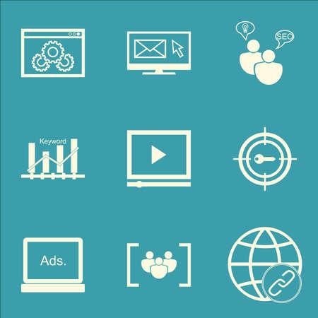 Ensemble d'icônes marketing sur lettre, Video Player et SEO Brainstorm Sujets. Editable Vector Illustration. Comprend Link, groupe et marketing icônes vectorielles.