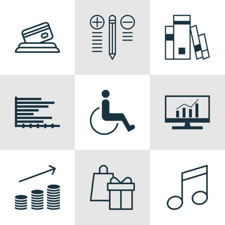 armchair shopping: Set Of 9 Universal Editable Icons. Can Be Used For Web, Mobile And App Design. Includes Icons Such As Library, Decision Making, Crotchets And More.