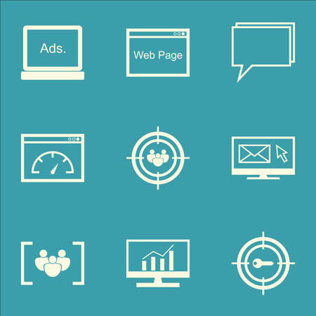 keyword research: Set Of SEO Icons On Loading Speed, Market Research And Conference Topics. Editable Vector Illustration. Includes Marketing, Keyword And Comprehensive Vector Icons.