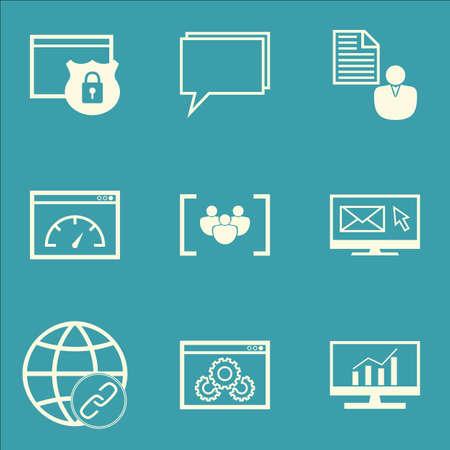 Ensemble d'icônes de marketing sur des études de marché, des conférences et des sujets de rapport. Illustration vectorielle modifiable. Inclut le foyer, le bulletin et les icônes de vecteur de conférence.