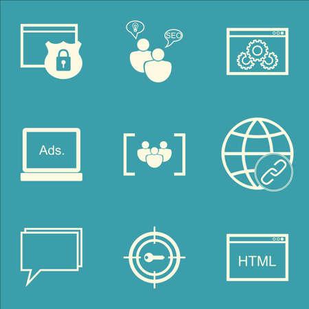 Set Of SEO icônes sur le codage, le questionnaire et la sécurité Sujets. Editable Vector Illustration. Comprend performance, groupe et afficher icônes vectorielles.