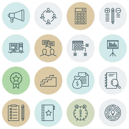 Set Of 16 Universal Editable Icons. Can Be Used For Web, Mobile And App Design. Includes Icons Such As Time Management, Present Badge, Report And More. Vettoriali