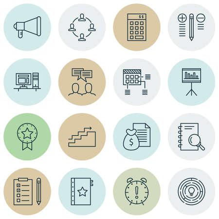 Set van 16 universele bewerkbare iconen. Kan worden gebruikt voor web-, mobiel- en app-ontwerp. Bevat pictogrammen zoals tijdbeheer, presentiekenteken, rapport en meer.