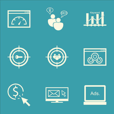 ppc: Set Of Advertising Icons On PPC, Focus Group And Website Performance Topics. Editable Vector Illustration. Includes Focus, Keyword And Performance Vector Icons. Illustration