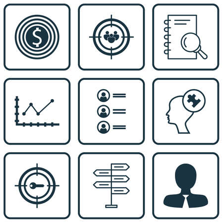 mind set: Set Of 9 Universal Editable Icons. Can Be Used For Web, Mobile And App Design. Includes Icons Such As Keyword Marketing, Focus Group, Human Mind And More.