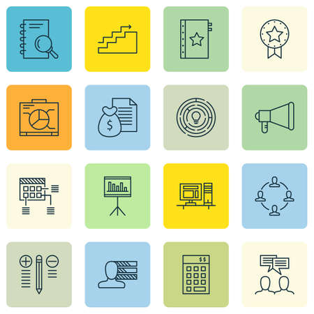 personality development: Set Of 16 Universal Editable Icons. Can Be Used For Web, Mobile And App Design. Includes Icons Such As Innovation, Investment, Present Badge And More.