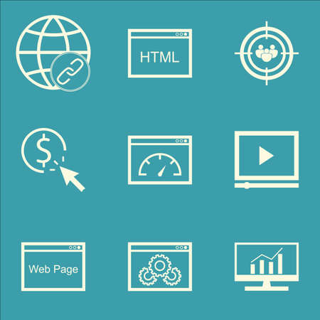 dynamic html: Set Of Marketing Icons On Loading Speed, Connectivity And Coding Topics. Editable Vector Illustration. Includes Comprehensive, Link And Advertising Vector Icons. Illustration