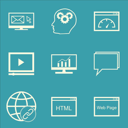 dynamic html: Set Of SEO Icons On Market Research, Conference And Loading Speed Topics. Editable Vector Illustration. Includes Newsletter, Speed And HTML Vector Icons. Illustration