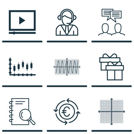 Set Of 9 Universal Editable Icons. Can Be Used For Web, Mobile And App Design. Includes Icons Such As Present, Discussion, Analysis And More.