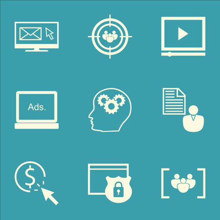 Set Of SEO Icons On Video Player, Digital Media And Report Topics. Editable Vector Illustration. Includes Click, Audience And Protected Vector Icons. Illustration