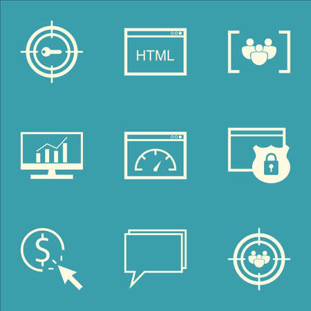Set Of SEO Icons On Conference, Coding And Loading Speed Topics. Editable Vector Illustration. Includes Focus, Target And Comprehensive Vector Icons.