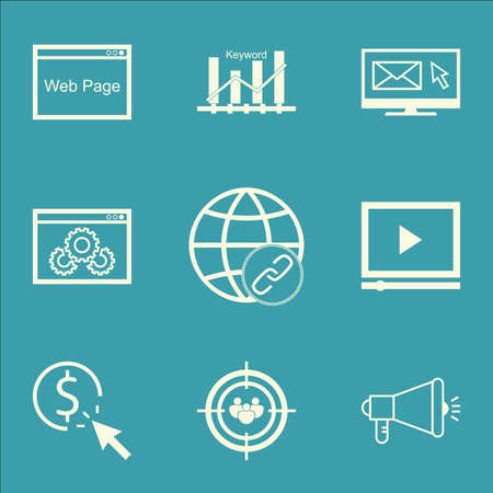 keywords advertise: Set Of Advertising Icons On Newsletter, PPC And Website Performance Topics. Editable Vector Illustration. Includes Optimization, Marketing And Keyword Vector Icons.