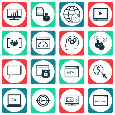 Set Of SEO Icons On Brain Process, Video Player And Website Topics. Editable Vector Illustration. Includes Link, Protected And Security Vector Icons.