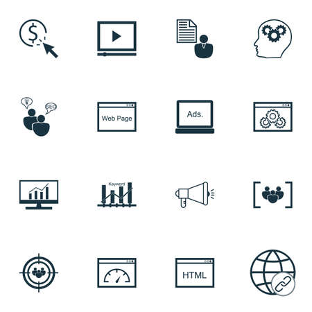 thinking link: Set Of SEO Icons On Media Campaign, Website And Market Research Topics. Editable Vector Illustration. Includes Link, Web And Browser Vector Icons.