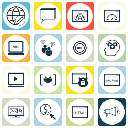 Ensemble de 16 icônes modifiables universelles. Peut être utilisé pour la conception Web, Mobile et App. Comprend des icônes telles que les performances du site Web, le codage, la sécurité, etc.