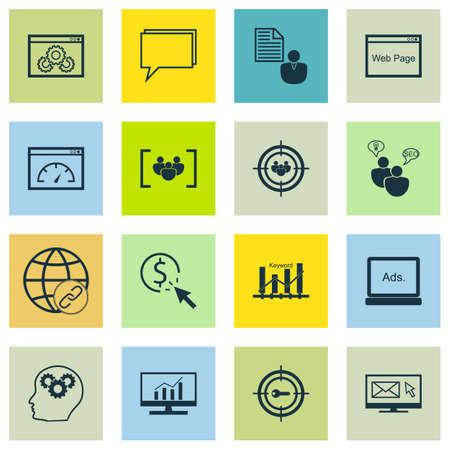 Ensemble d'icônes de marketing sur des sujets de conférence, de questionnaire et de connectivité. Illustration vectorielle modifiable. Comprend des icônes de performance, client et vecteur de focus.