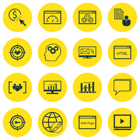 Set Of Advertising Icons On Website, Website Performance And Brain Process Topics. Editable Vector Illustration. Includes Focus, Website And Newsletter Vector Icons.