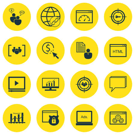 dynamic html: Set Of Marketing Icons On Loading Speed, Keyword Marketing And Focus Group Topics. Editable Vector Illustration. Includes Comprehensive, Digital And Target Vector Icons.