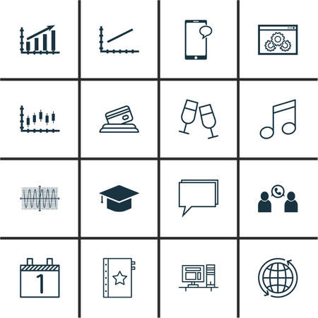 set up: Set Of 16 Universal Editable Icons. Can Be Used For Web, Mobile And App Design. Includes Icons Such As Graduation, Champagne Glasses, Messaging And More.