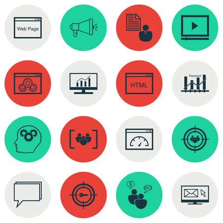 brief: Set Of SEO Icons On Market Research, Focus Group And Brain Process Topics. Editable Vector Illustration. Includes Video, Brief And Web Vector Icons. Illustration