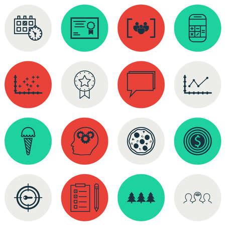 Set Of 16 Universal éditables Icons. Peut être utilisé pour le Web, Mobile Et App Design. Comprend des icônes telles que les mots-clés marketing, Rappel, calcul et plus encore.