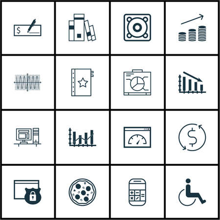 infirm: Set Of 16 Universal Editable Icons. Can Be Used For Web, Mobile And App Design. Includes Icons Such As Bank Payment, Coins Growth, Computer And More.