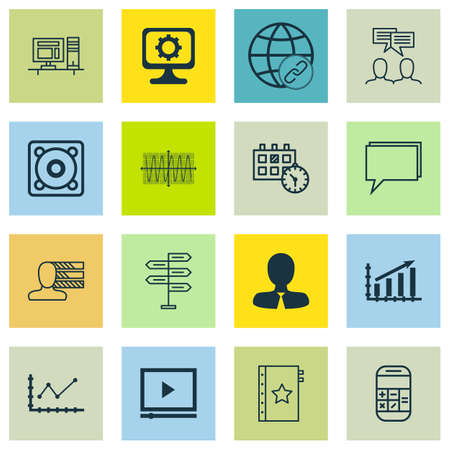 personality development: Set Of 16 Universal Editable Icons. Can Be Used For Web, Mobile And App Design. Includes Icons Such As Connectivity, Calculation, Opportunity And More.