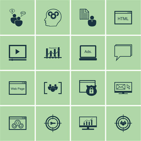 keyword research: Set Of SEO Icons On Market Research, Video Player And Keyword Optimisation Topics. Editable Vector Illustration. Includes Plan, Businessman And Website Vector Icons.