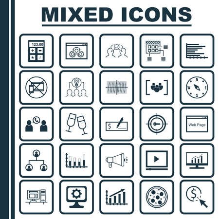 Set Of 25 Universal Editable Icons. Can Be Used For Web, Mobile And App Design. Includes Icons Such As Bank Payment, Keyword Marketing, PPC And More. Illustration