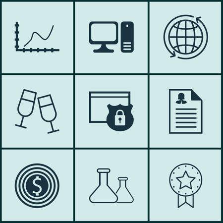 Ensemble de 9 icônes modifiables universelles. Peut être utilisé pour le Web, Mobile et App Design. Comprend des icônes telles que les applications féminines, les objectifs commerciaux, les produits chimiques, etc. Vecteurs