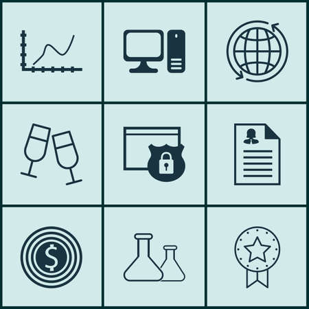 Set Of 9 Universal Editable Icons. Can Be Used For Web, Mobile And App Design. Includes Icons Such As Female Application, Business Goal, Chemical And More. Vektorové ilustrace
