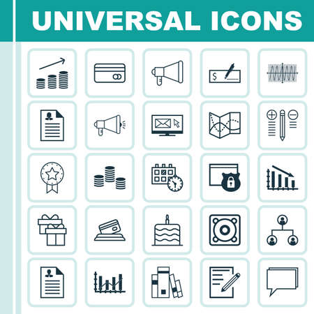 Set Of 25 Universal Editable Icons. Can Be Used For Web, Mobile And App Design. Includes Icons Such As Bank Payment, Decision Making, Media Campaign And More. Illustration