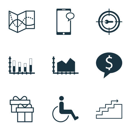 segmented: Set Of 9 Universal Editable Icons. Can Be Used For Web, Mobile And App Design. Includes Icons Such As Accessibility, Present, Segmented Bar Graph And More.