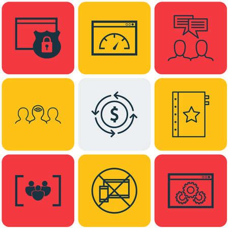 secured: Set Of 9 Universal Editable Icons. Can Be Used For Web, Mobile And App Design. Includes Icons Such As Loading Speed, Discussion, Money Recycle And More.